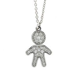 18k White Gold Salavetti Diamond Child Pendant Necklace