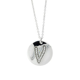 18k White Gold Salavetti Contemporary Diamond V Pendant Necklace