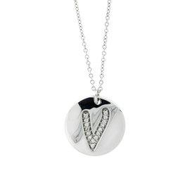 18k White Gold Salavetti Contemporary Diamond V Pendant Necklace