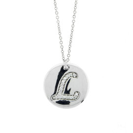 18k White Gold Salavetti Contemporary Diamond L Pendant Necklace