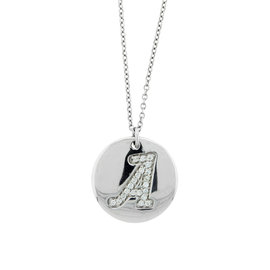 18k White Gold Salavetti Contemporary Diamond Pendent Necklace