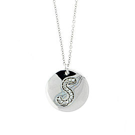 18k White Gold Salavetti Contemporary S Diamond Pendant Necklace
