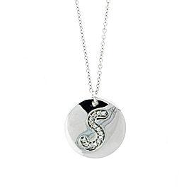 18k White Gold Salavetti Contemporary S Diamond Pendant Necklace