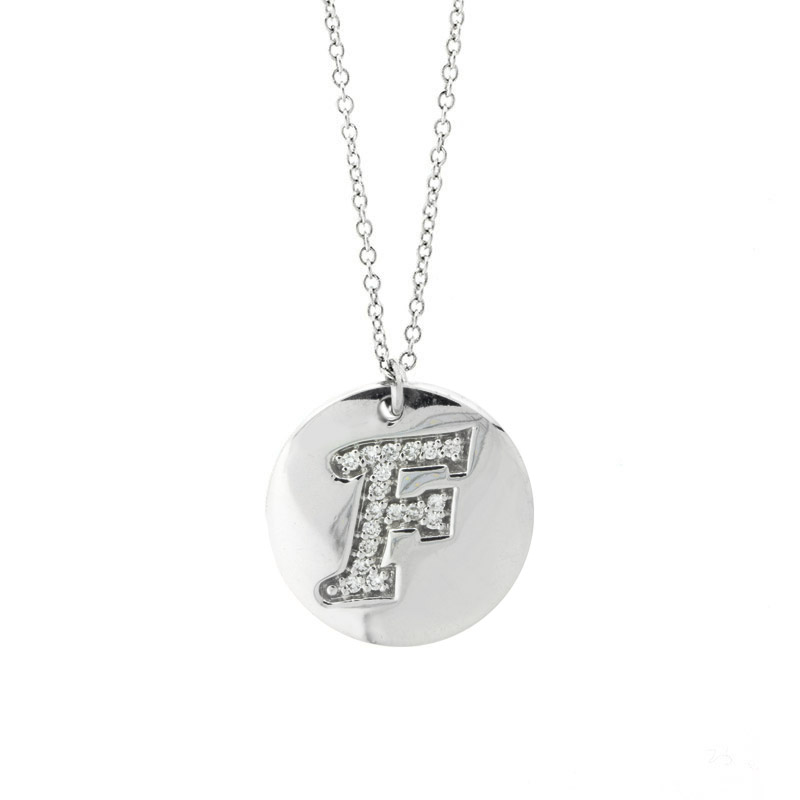 "Image of ""18k White Gold Salavetti Contemporary Diamond F Pendant Necklace"""