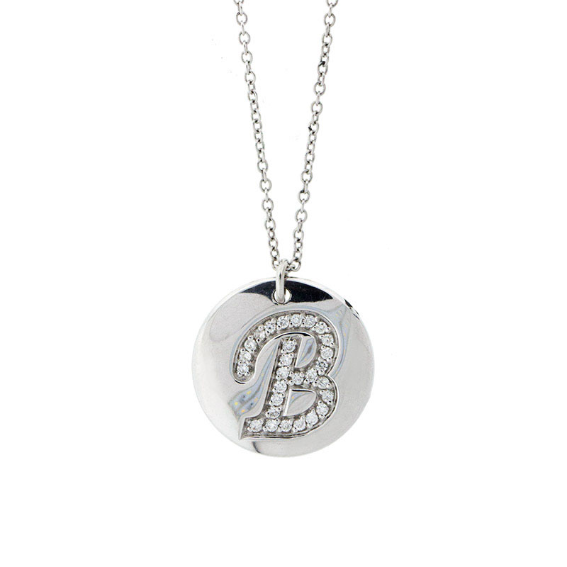 "Image of ""18k White Gold Salavetti Contemporary B Diamond Pendant Necklace"""