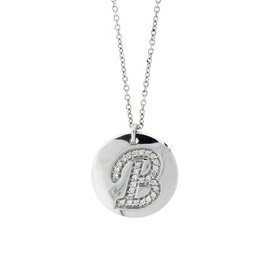 18k White Gold Salavetti Contemporary B Diamond Pendant Necklace