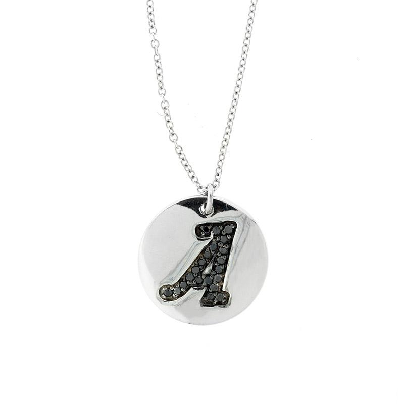 "Image of ""18k White Gold Salavetti Contemporary Diamond A Pendant Necklace"""