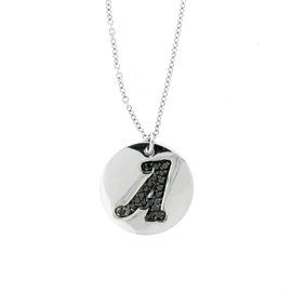 18k White Gold Salavetti Contemporary Diamond A Pendant Necklace
