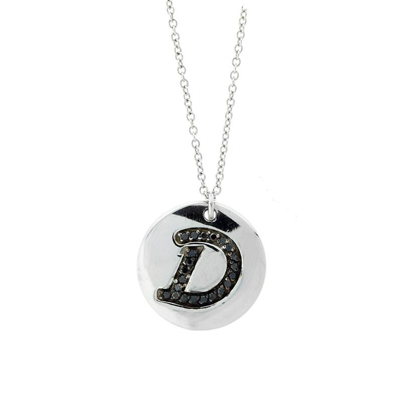 "Image of ""18k White Gold Salavetti Contemporary Diamond D Pendant Necklace"""