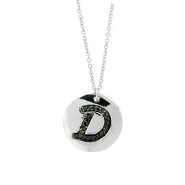 18k White Gold Salavetti Contemporary Diamond D Pendant Necklace