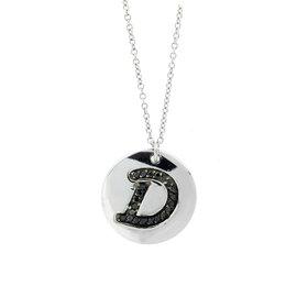 18k White Gold Salavetti Contemporary Diamond D Pendant Necklace