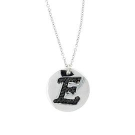 18k White Gold Salavetti Contemporary E Diamond Pendant Necklace