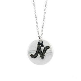 18k White Gold Salavetti Contemporary Diamond N Pendant Necklace