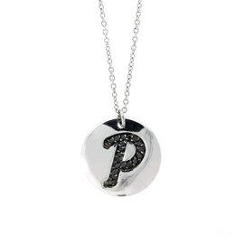 18k White Gold Salavetti Contemporary Diamond P Pendant Necklace