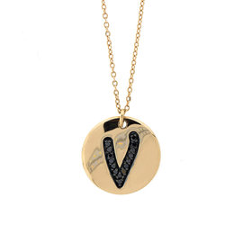 18k Rose Gold Salavetti Contemporary Diamond V Pendant Necklace
