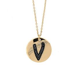 18k Rose Gold Salavetti Contemporary Diamond V Pendant Necklace