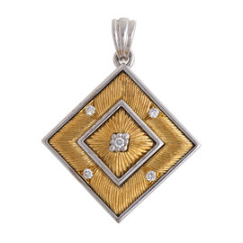 White and Yellow Gold Gold BUCCELLATI Agalmachron Diamond Pendant