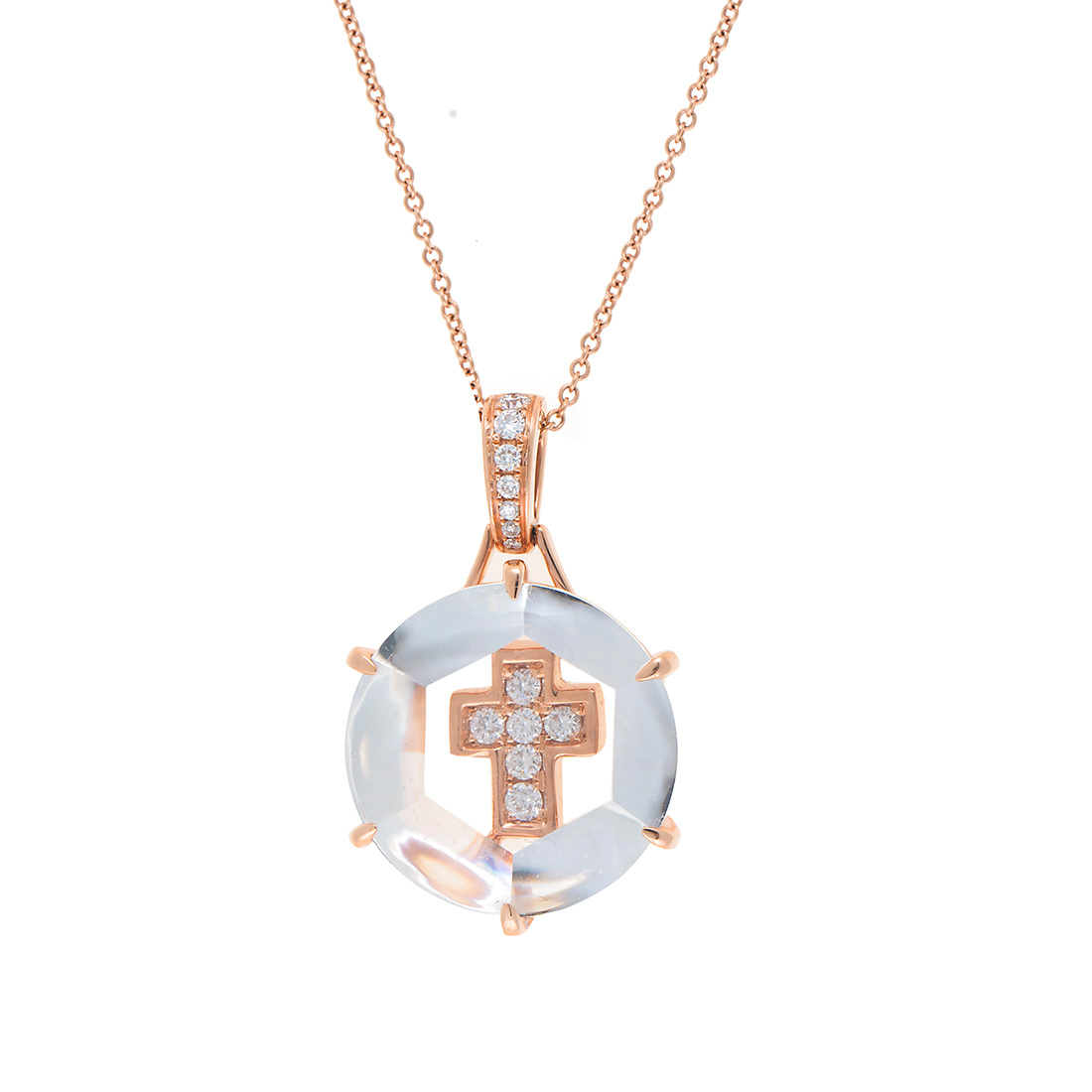 "Image of ""14k Pg Diamond Cross Pendant With Chain"""