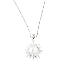 Tara 18k White Gold With 15x16mm Natural Color White South Sea Cultured Pearl and 4.41ct Multi Shape Diamond Wheat Chain Necklace