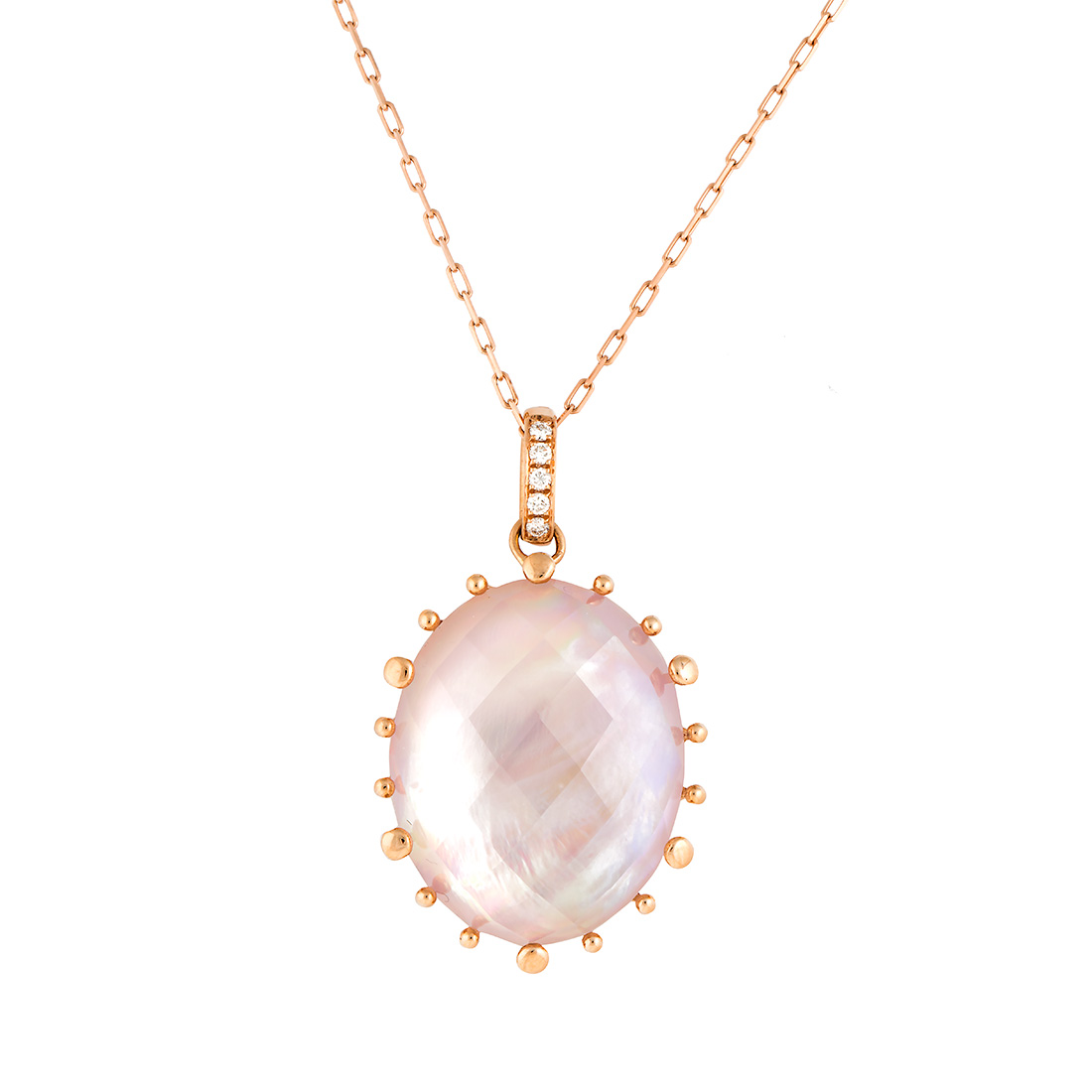 "Image of ""18k Pg Large Oval Checker Top Pink Mop, Crystal and Diamond on Bale"""