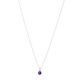 14k White Gold Amethyst February Birthstone Pendant with Chain