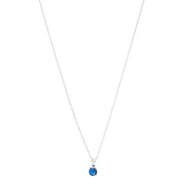 14k White Gold Sapphire September Birthstone Pendant with Chain