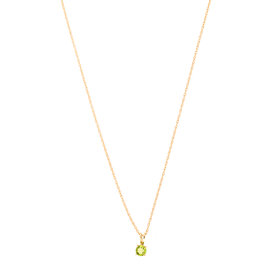 14k Yellow Gold Peridot August Birthstone Pendant with Chain