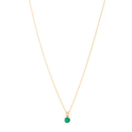 14k Yellow Gold Emerald May Birthstone Pendant with Chain