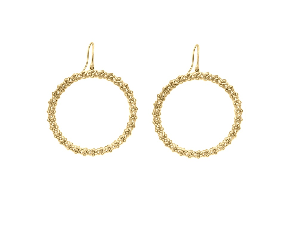 """Image of """"18K Yellow Gold Paw Round Dangle Earrings"""""""