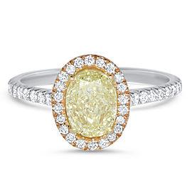 Oval Yellow Diamond Halo Ring