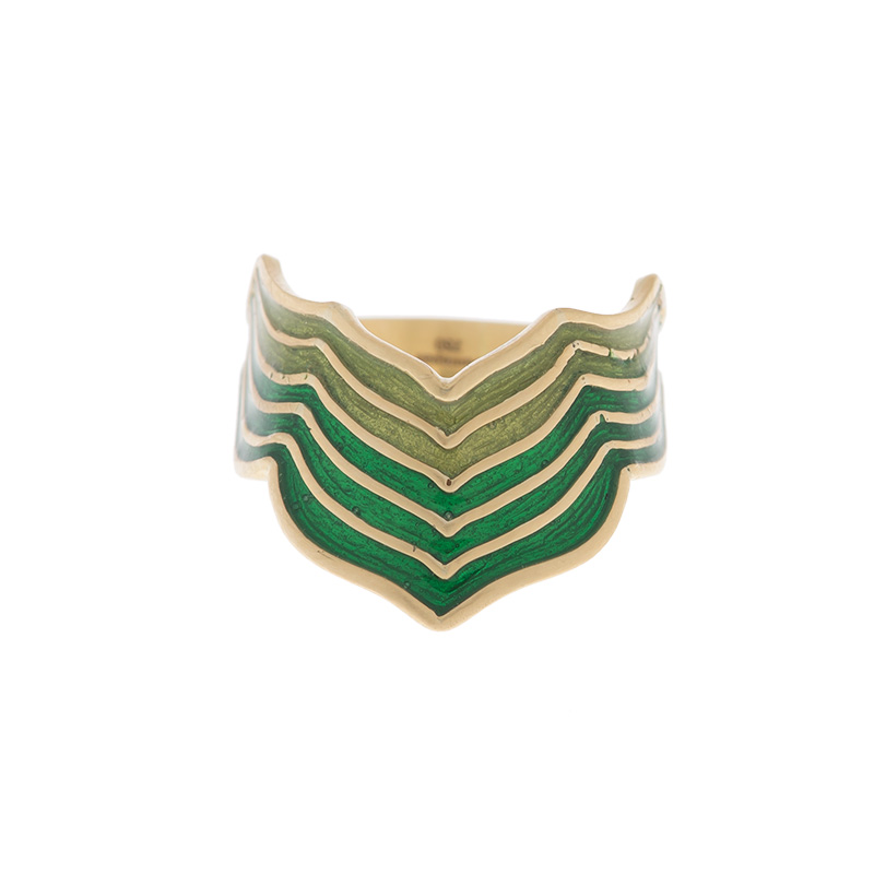 "Image of ""18K Yellow Gold with Green Enamel Ring"""