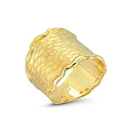 14 Karat Yellow Gold Matte and Hammer-finished Ring