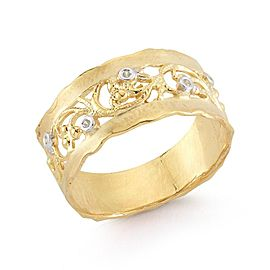 14 Karat Yellow Gold Matte-finish Ruffled-edge Filigree Ring