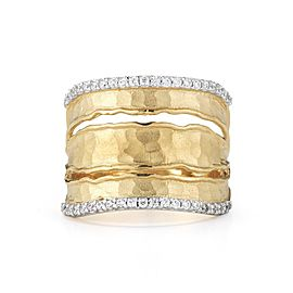 14 Karat Yellow Gold Matte and Hammer-finish Ruffled-edge Cut-out Ring