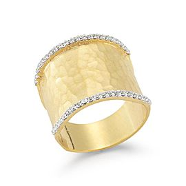 14 Karat Yellow Gold Matte and Hammer-finish Ring