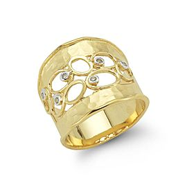 14 Karat Yellow Gold Matte and Hammer-finished Scallop-edged Cuff Ring