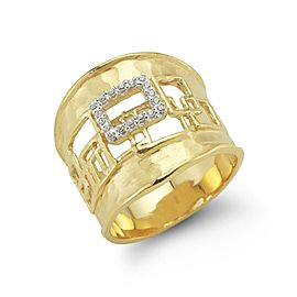 14 Karat Yellow Gold Matte and Hammer-finished Scallop-edged Vitrage Cuff Ring
