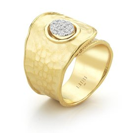 14 Karat Yellow Gold Matte and Hammer-finished Scallop-edged Button Cuff Ring