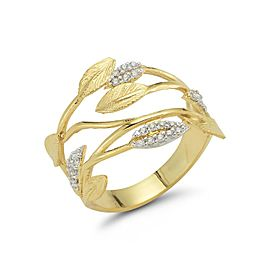 14 Karat Yellow Gold Matte and Texture-finished Leaf Vein Ring