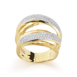 Yellow Gold Matte and Hammer-finish Arch Ring