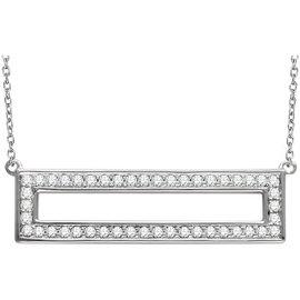 14K White Gold & 0.35ct Diamond Rectangle Bar Necklace