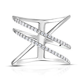 Sterling Silver Diamond Open Bar Ring