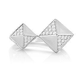 Sterling Silver Diamond 3d Pyramid ring