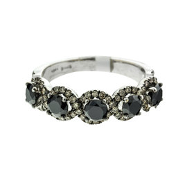 Salavetti 18k White Gold Black Diamond Ring