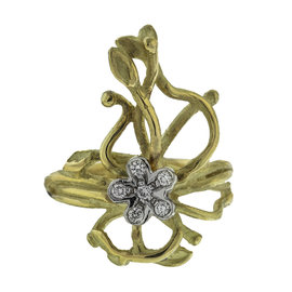Salavetti 18k Two Tone Gold and Diamond Flower Ring