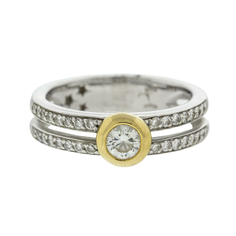 "Image of ""H. Stern 18k Yellow and White Gold Two Row Diamond Ring"""