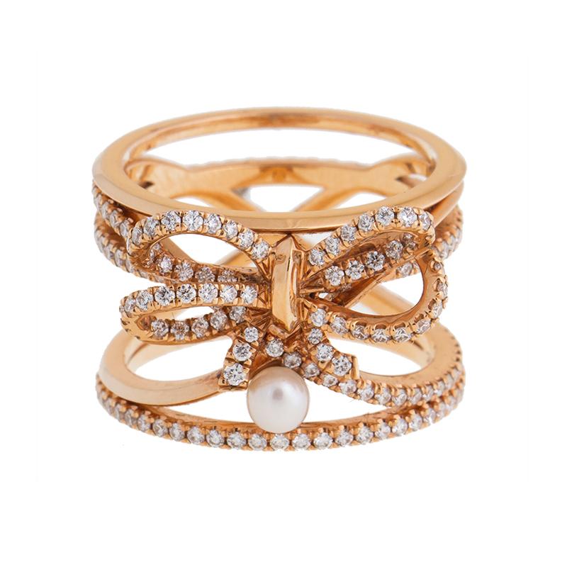 "Image of ""18K Rose Gold Alexander Mor Pearl Diamond Ring"""