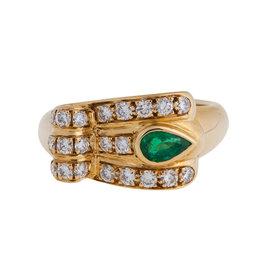 18KT YELLOW GOLD, BRILL EMERALD RING
