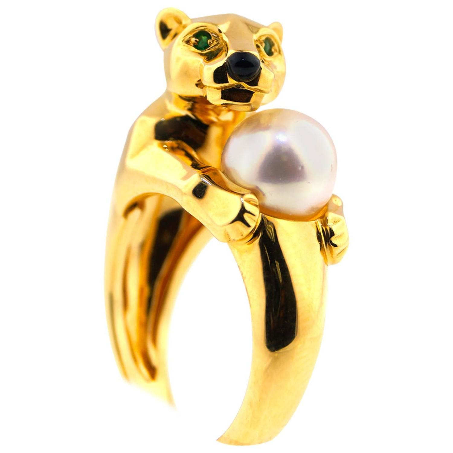 "Image of ""18K Yellow Gold Cartier Panthere Pearl Ring"""