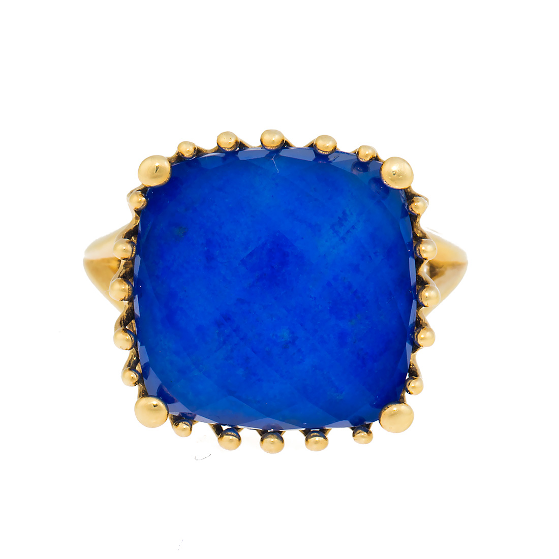 "Image of ""18k Yg Small Cushion Lapis and Crystal, No Diamond Tivoli Ring"""